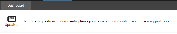 "Screenshot from the Cyber Skyline website. Update reads ""For any questions or comments, please join us on our community slack or file a support ticket"""